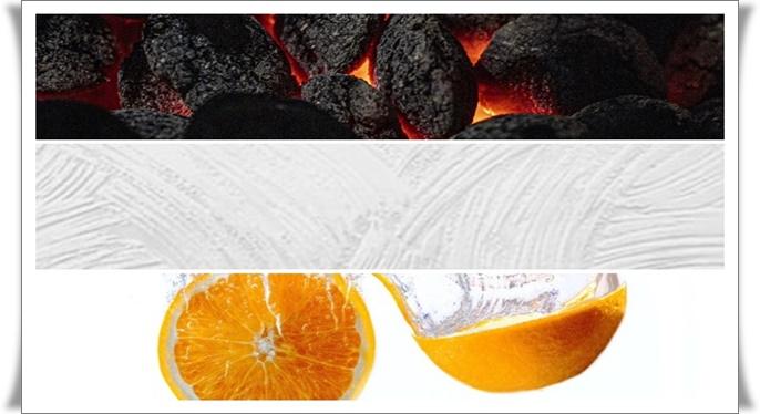 carvão ativado, argila branca, óleo essencial de laranja